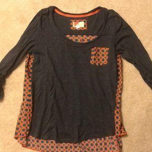 Anthropologie sz M Top- navy cotton & orange silk